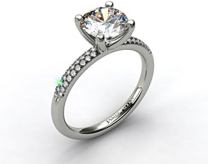 14k White Gold Rounded Pave Engagement Solitaire